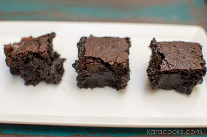 Fudgy one-bowl brownies | © karacooks.com